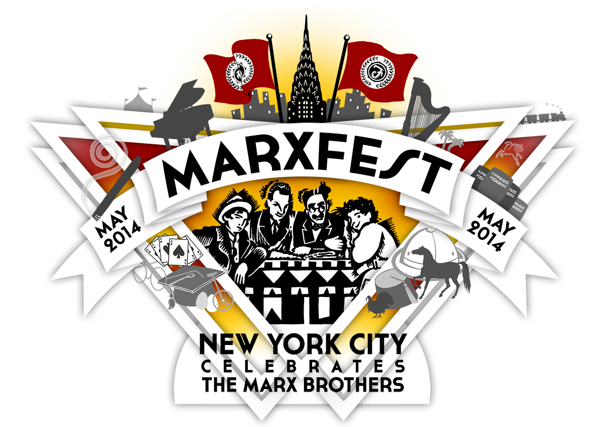 My master logo design for Marxfest includes at least one visual reference to each of the Marx Brothers' thirteen films.