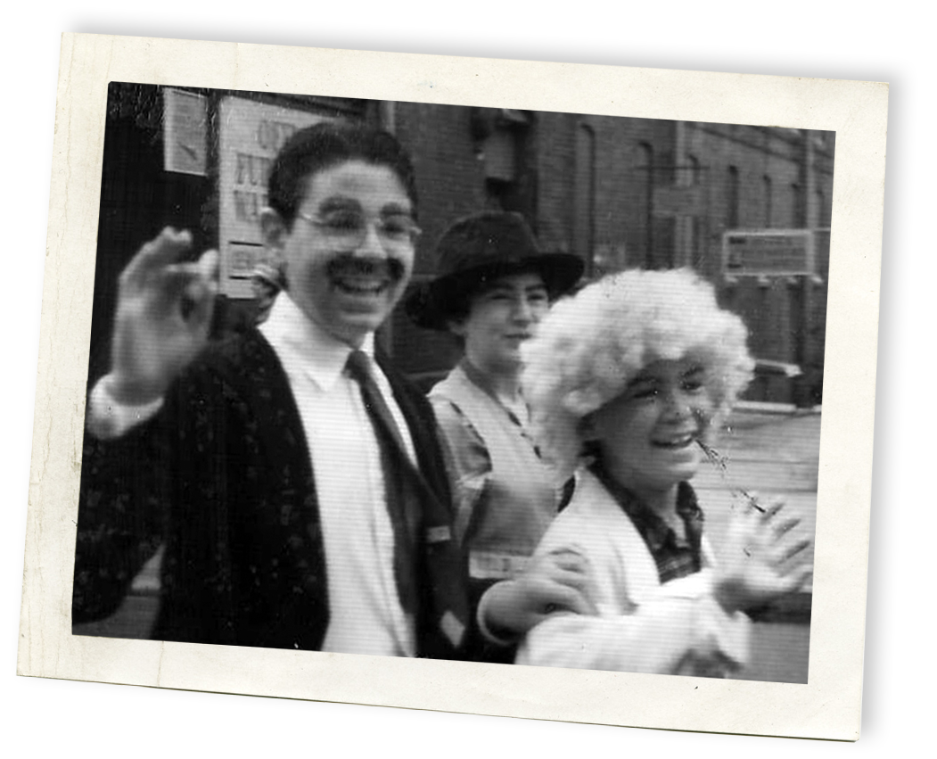 With my sister, Shayna (as Chico) and my brother, Joe (as Harpo), waving to onlookers at the Boom Box Parade, Willimantic, Connecticut, July 4, 1989.