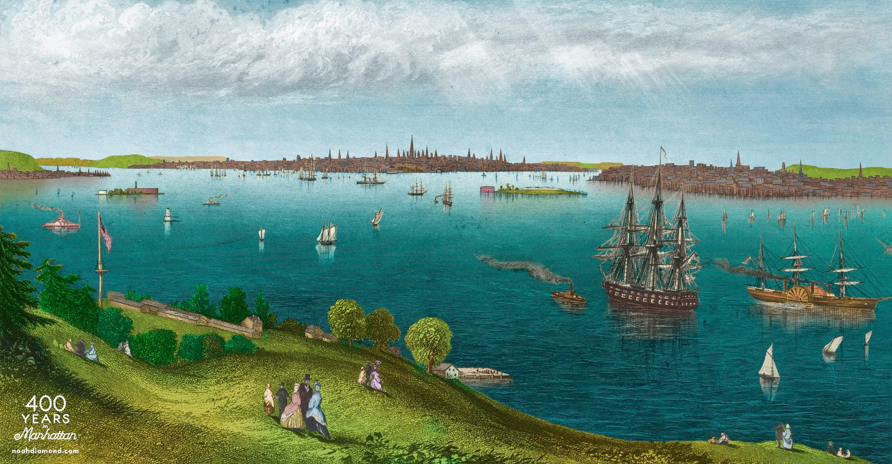 The harbor and Manhattan, seen from Staten Island. Drawing by Joseph Hamilton, 1849. Colored by Noah Diamond, 2018.