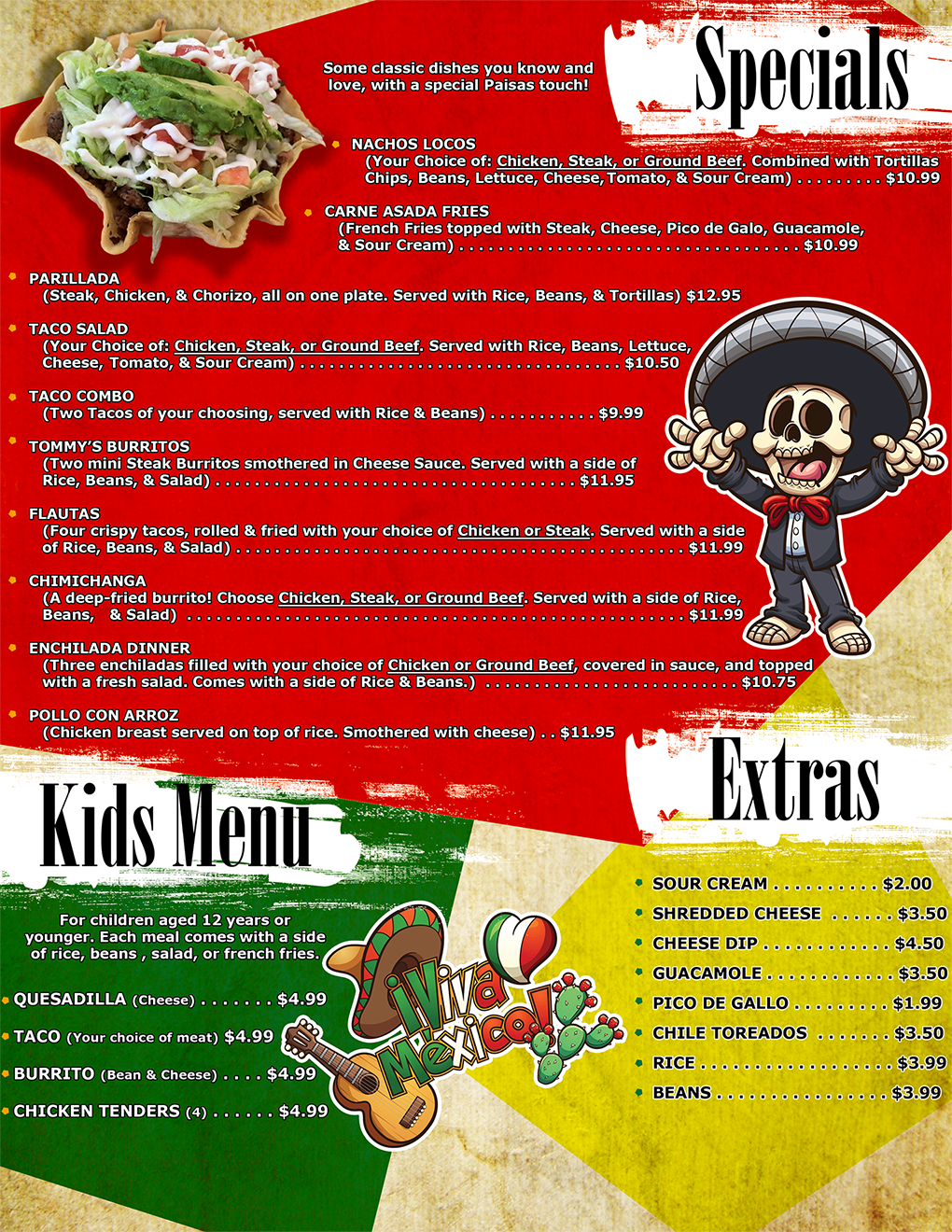 Specials, Kids Menu, and Side Orders