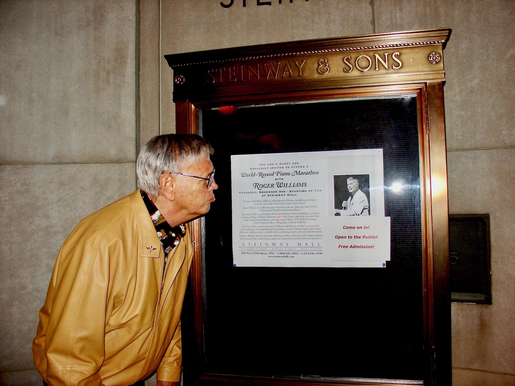 Roger acting playful before his marathon at NY Steinway Hall