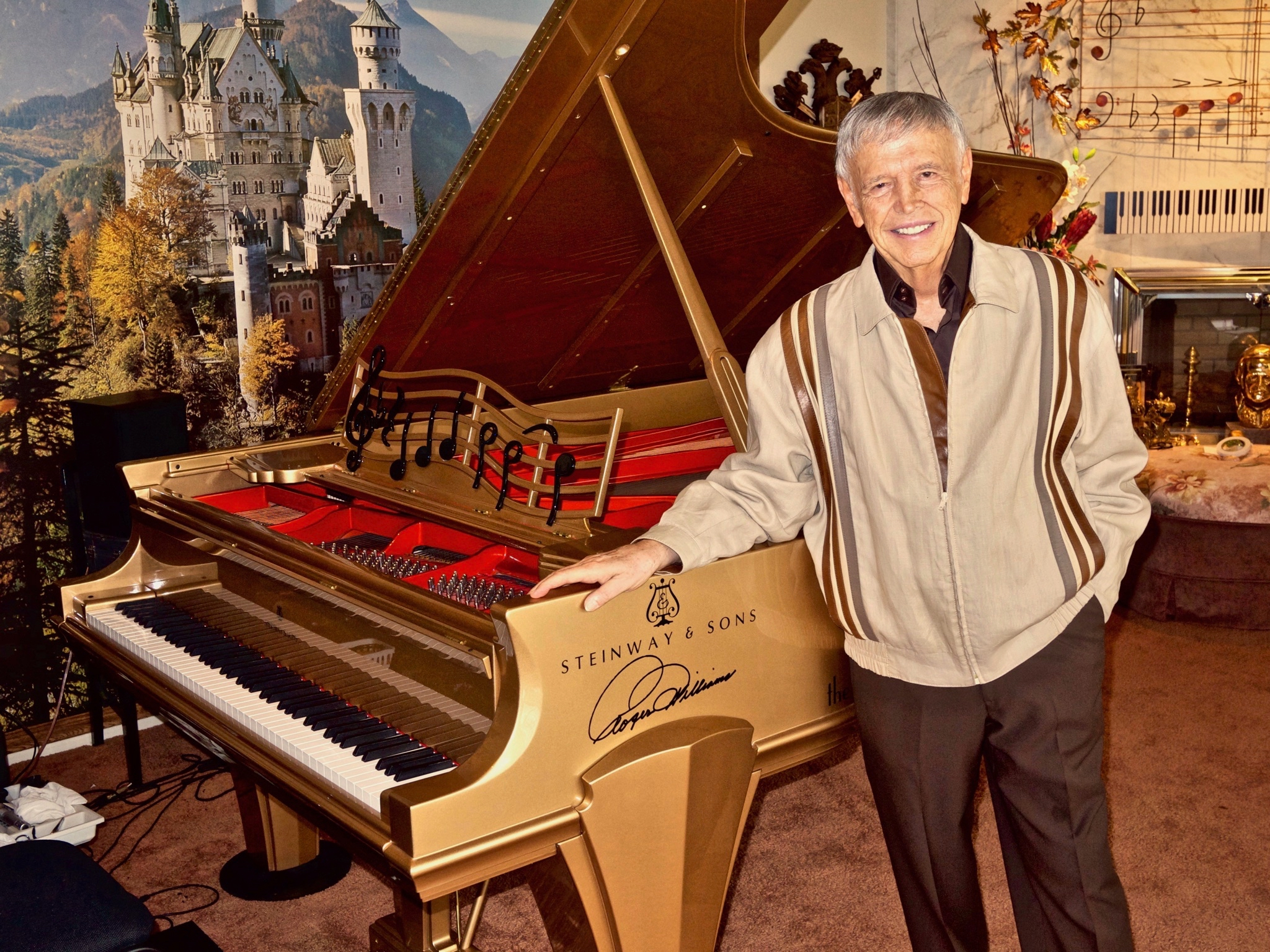 Roger with the Roger Williams Ltd. Edition Gold Steinway