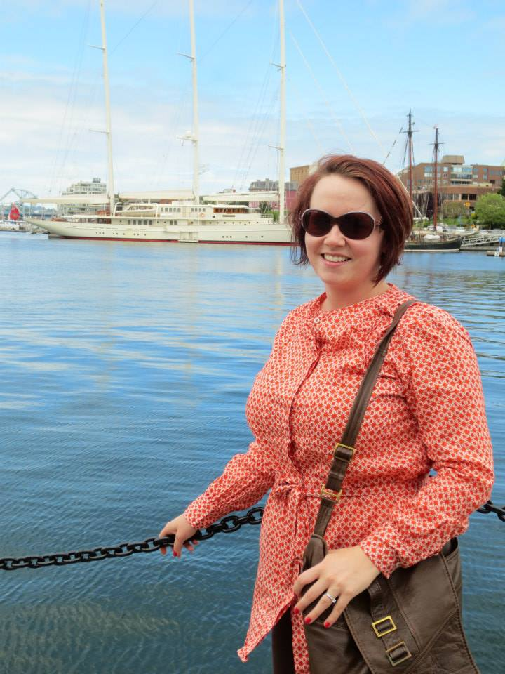 Donna in Victoria in 2013 to receive Master of Arts in Leadership from Royal Roads University. Already five weeks pregnant with Dominic.