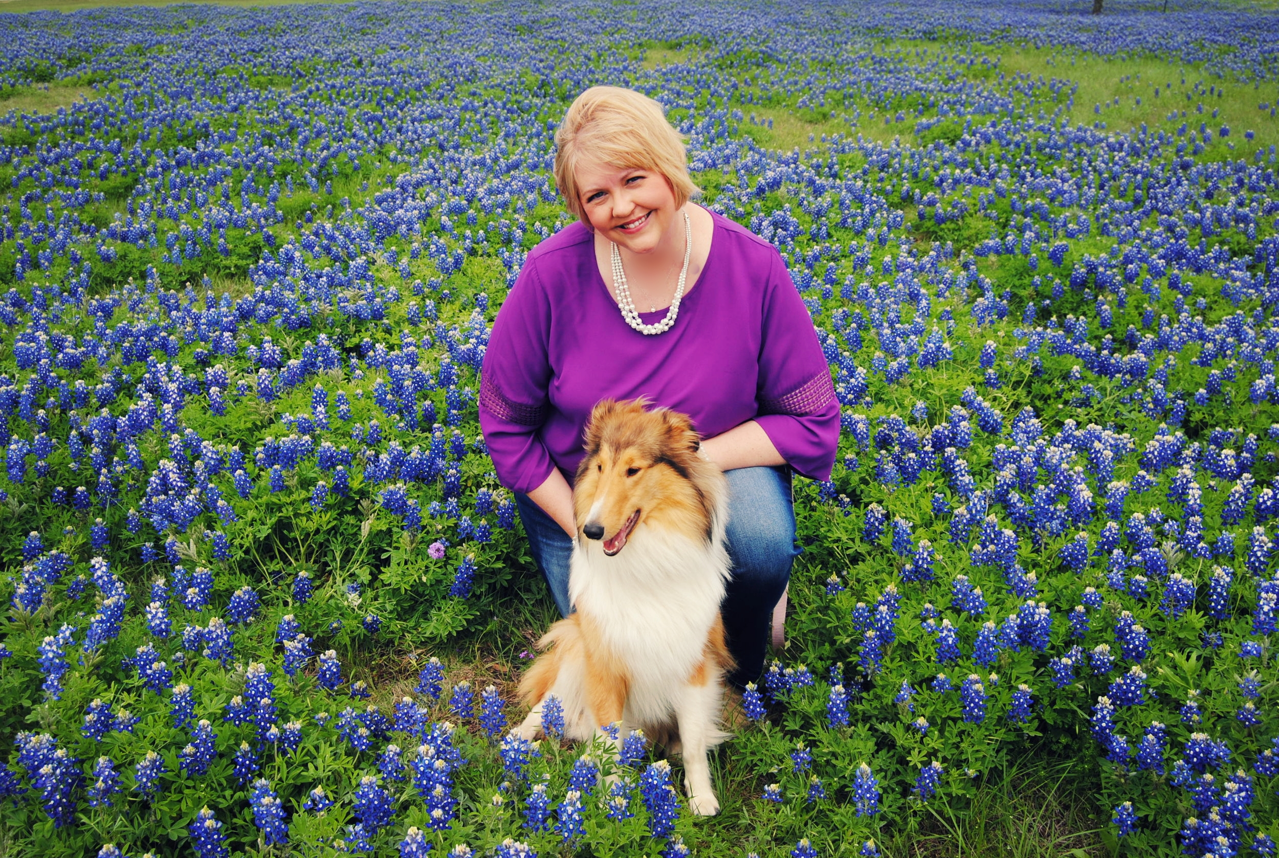 Bluebonnets... - with my favorite collie, Selah.