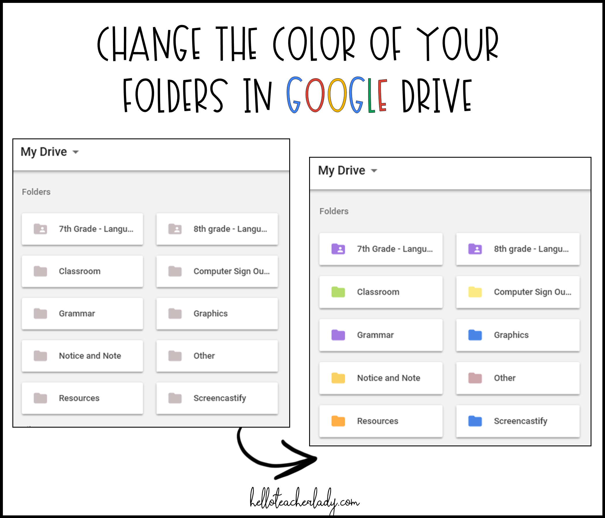 4 Google Drive tips every teacher (and student) should know: How to change the color of your folders