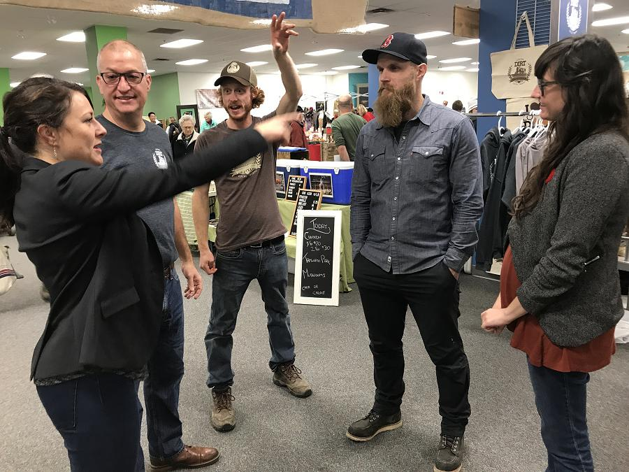 Peterborough Mayor-Elect Diane Therrien, Peterborough Regional Farmers Network board chair Neil Hannam and board member Josh Blank, and Caleb Pedosiuk and Sarah May share their excitement about the new indoor market location at the opening on November 3, 2018. Caleb and Sarah own local marketing company 79 Dev, which did all the branding work for the indoor market in the mall. (Photo: Barb Shaw / kawarthaNOW.com)