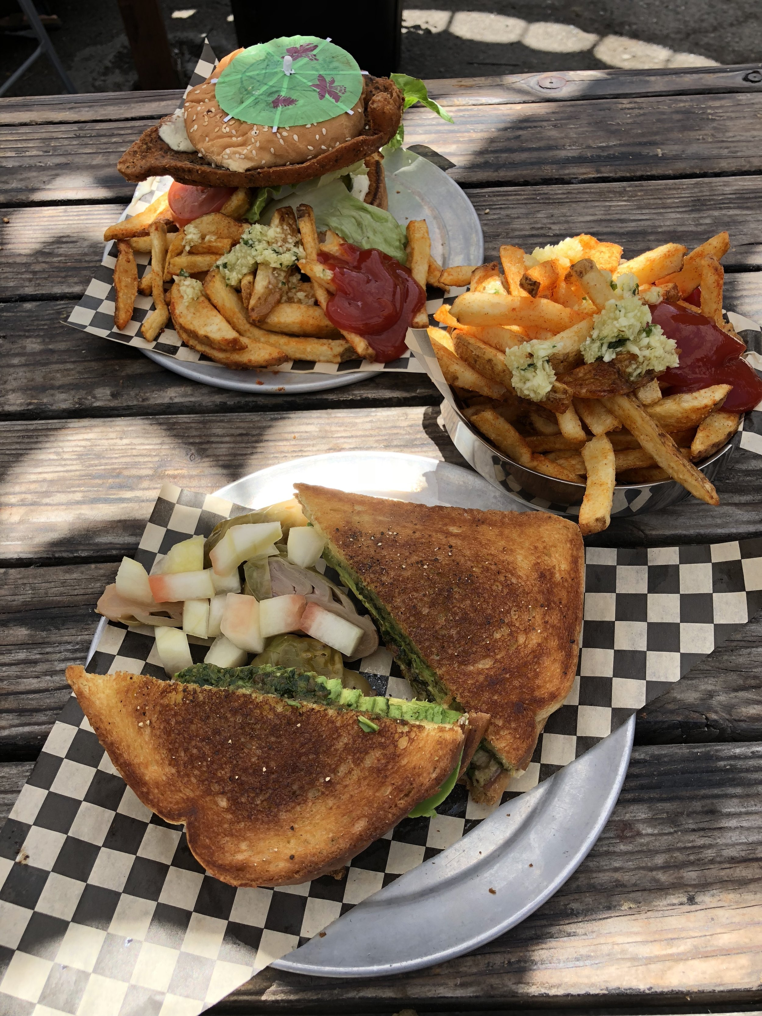 Chicken Ranch Burger, side of Garlic Fries, & Grilled Cheeze