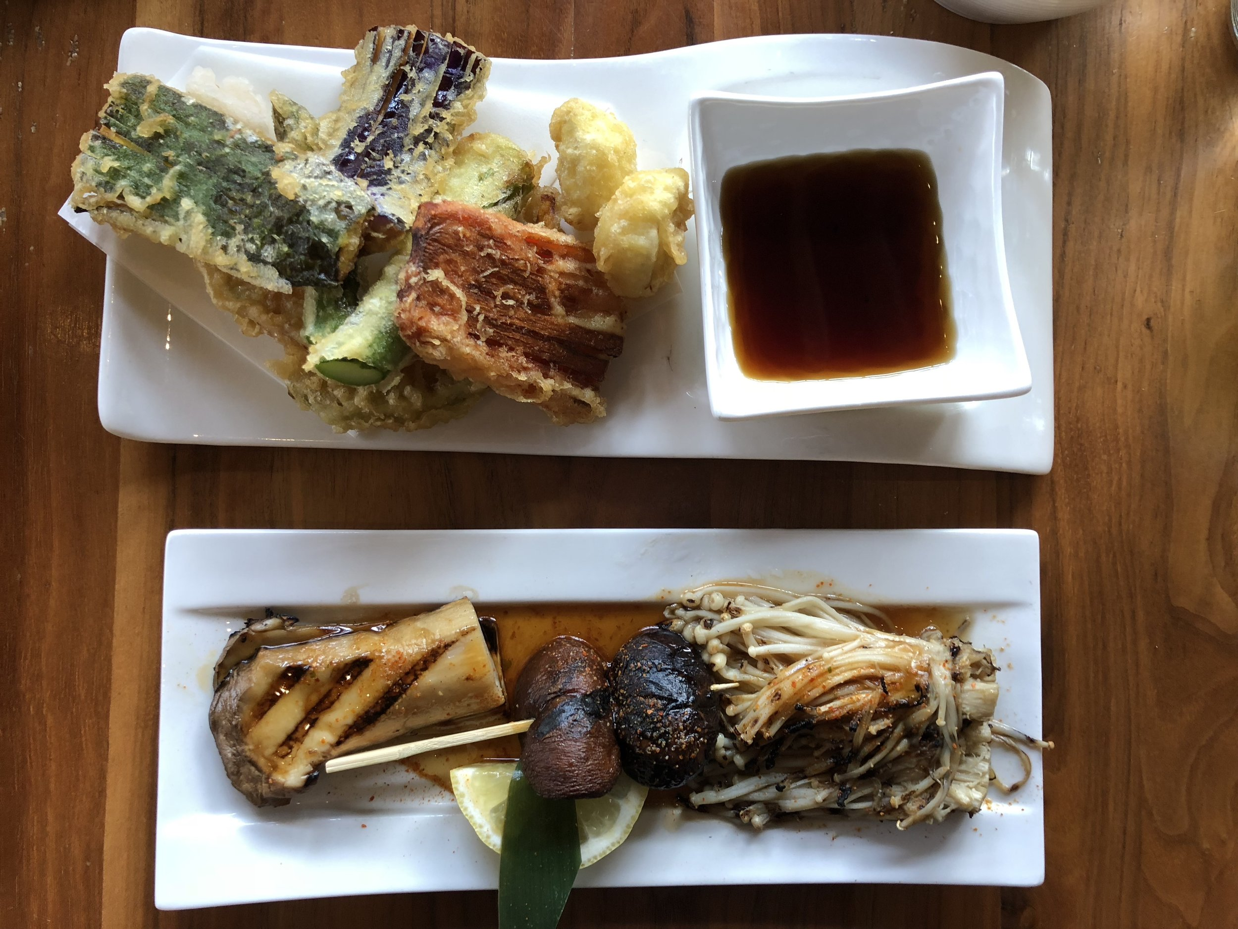 Tempura Plate & Grilled Mushrooms