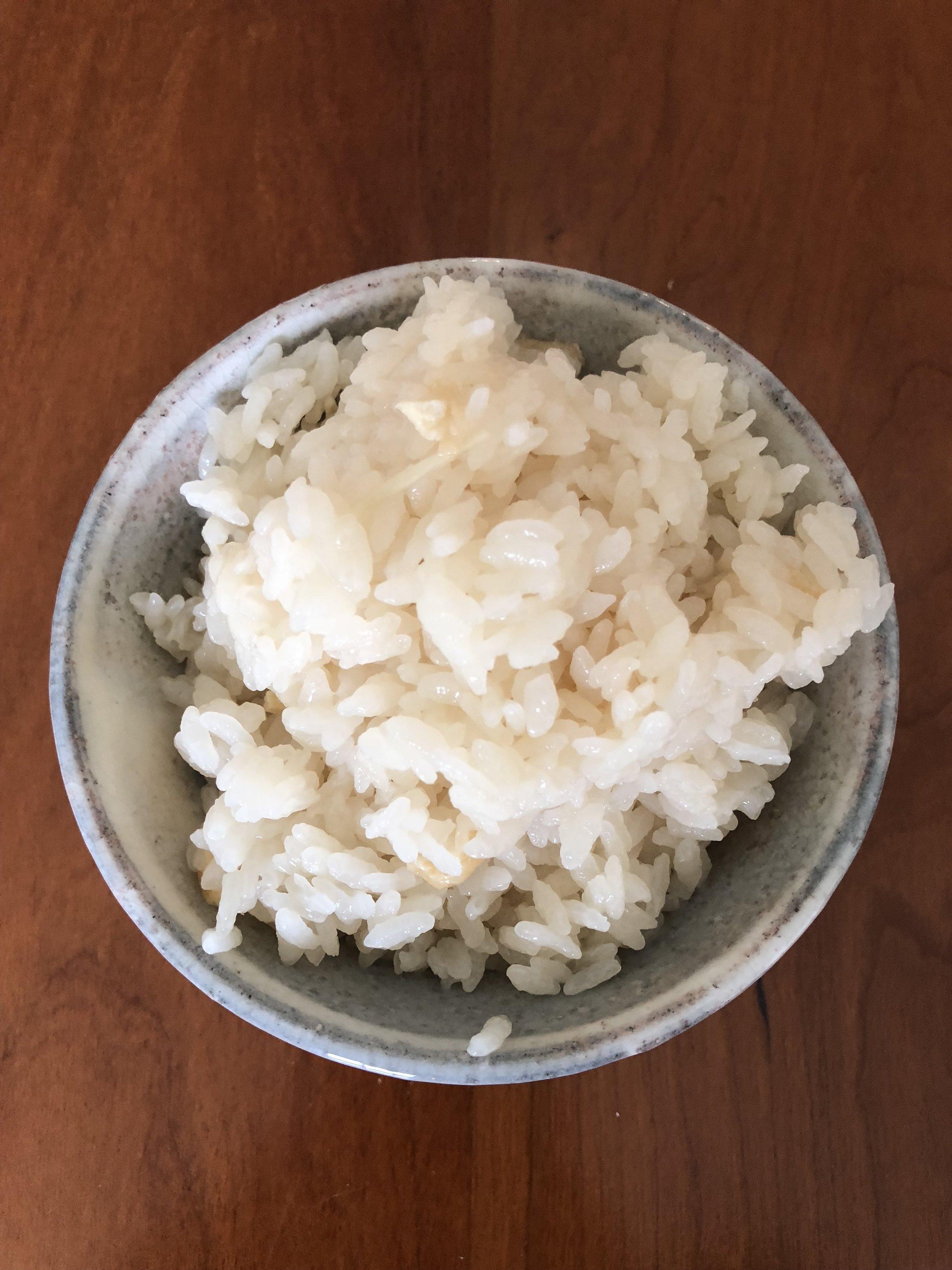 Japanese rice w/fried tofu & ginger