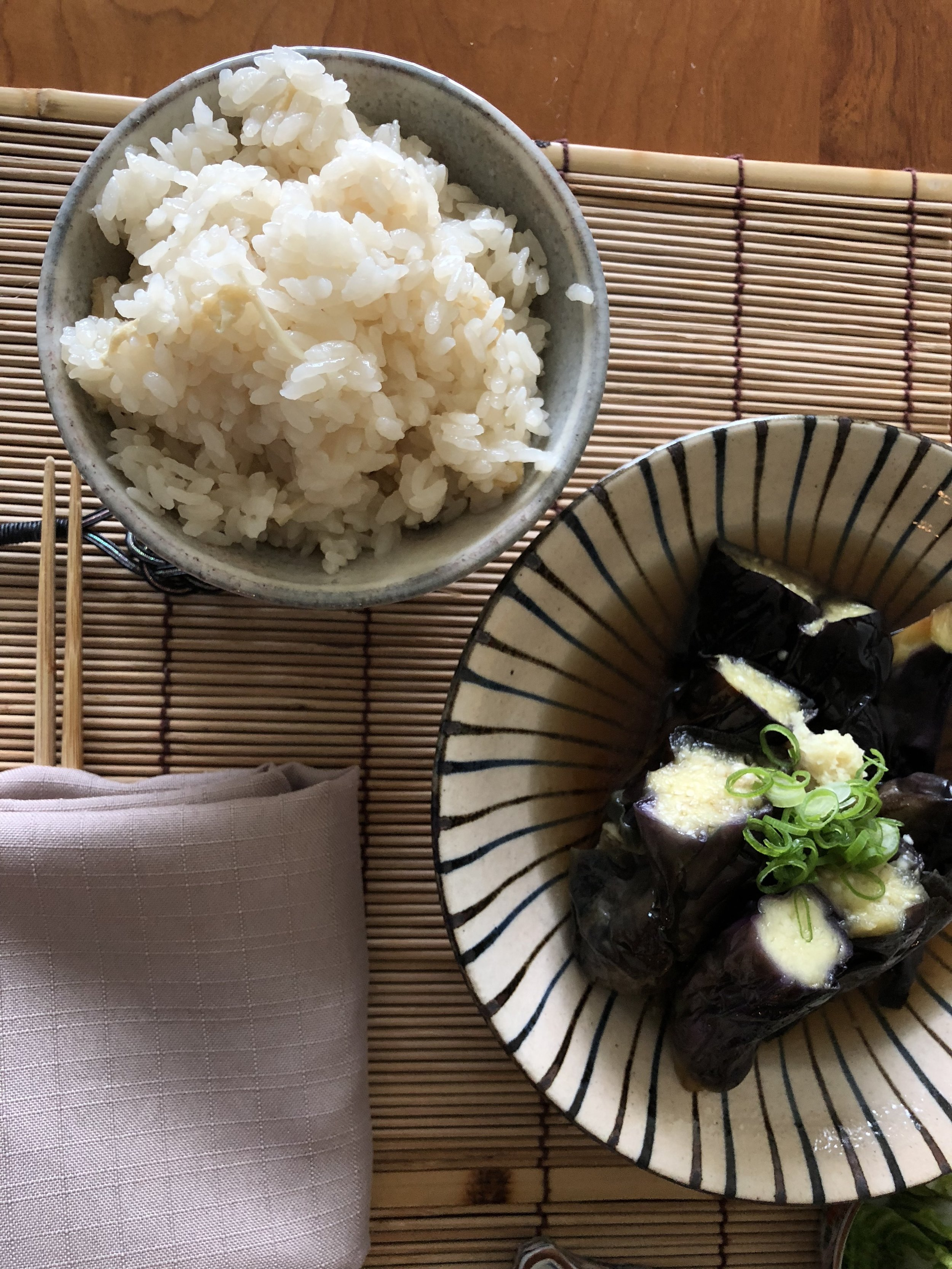 Rice and eggplant dishes