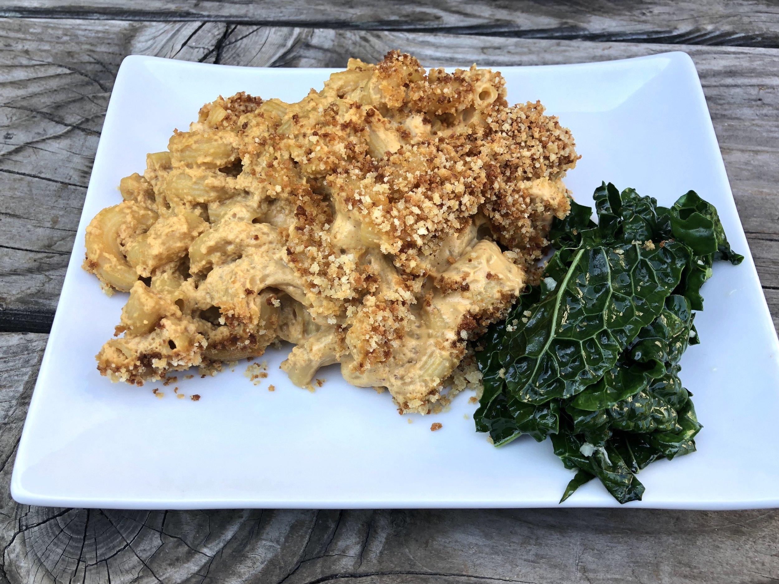 Served with sautéed kale...