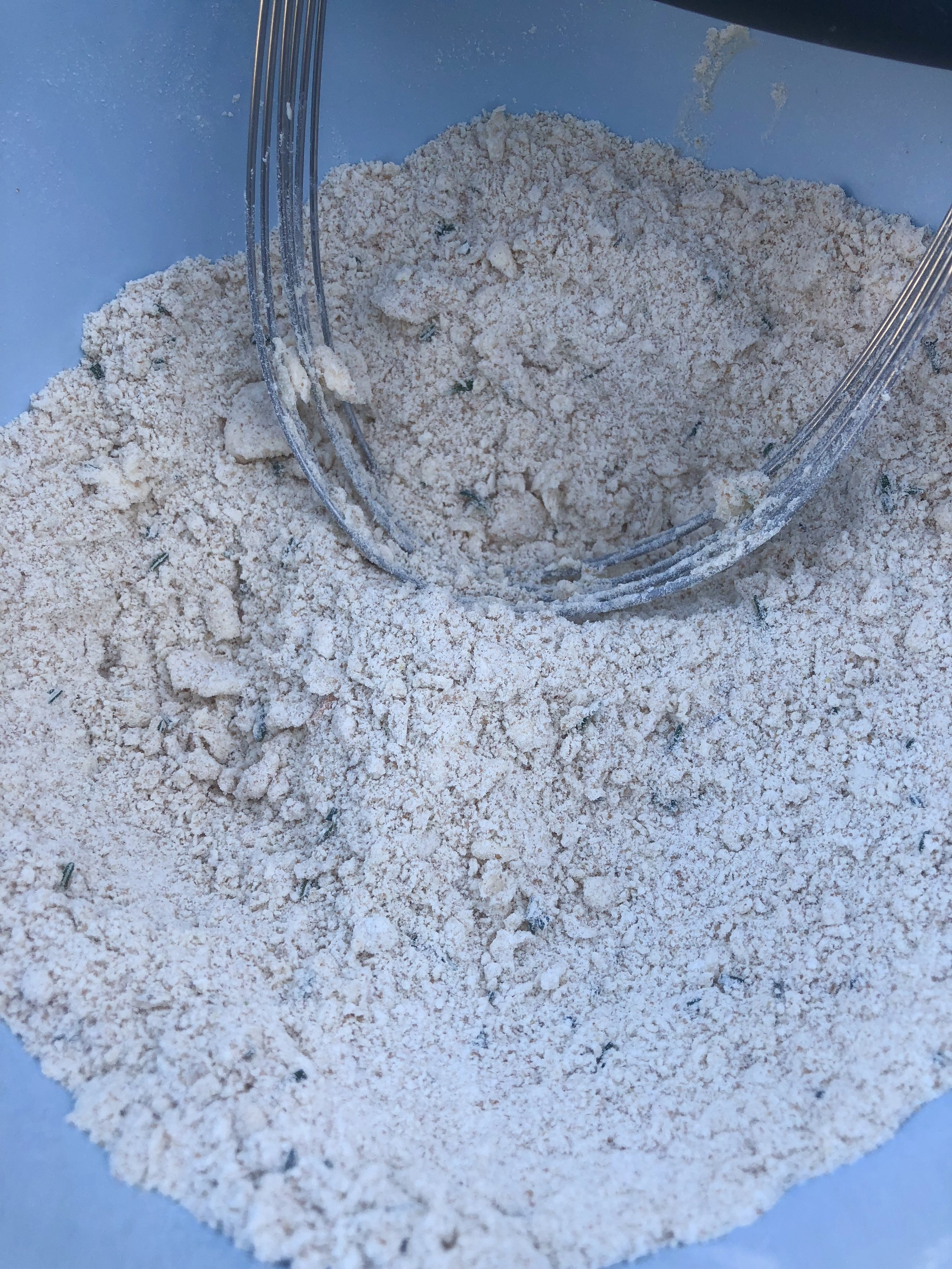 This is how your flour + EB mixture should look; kinda sandy.