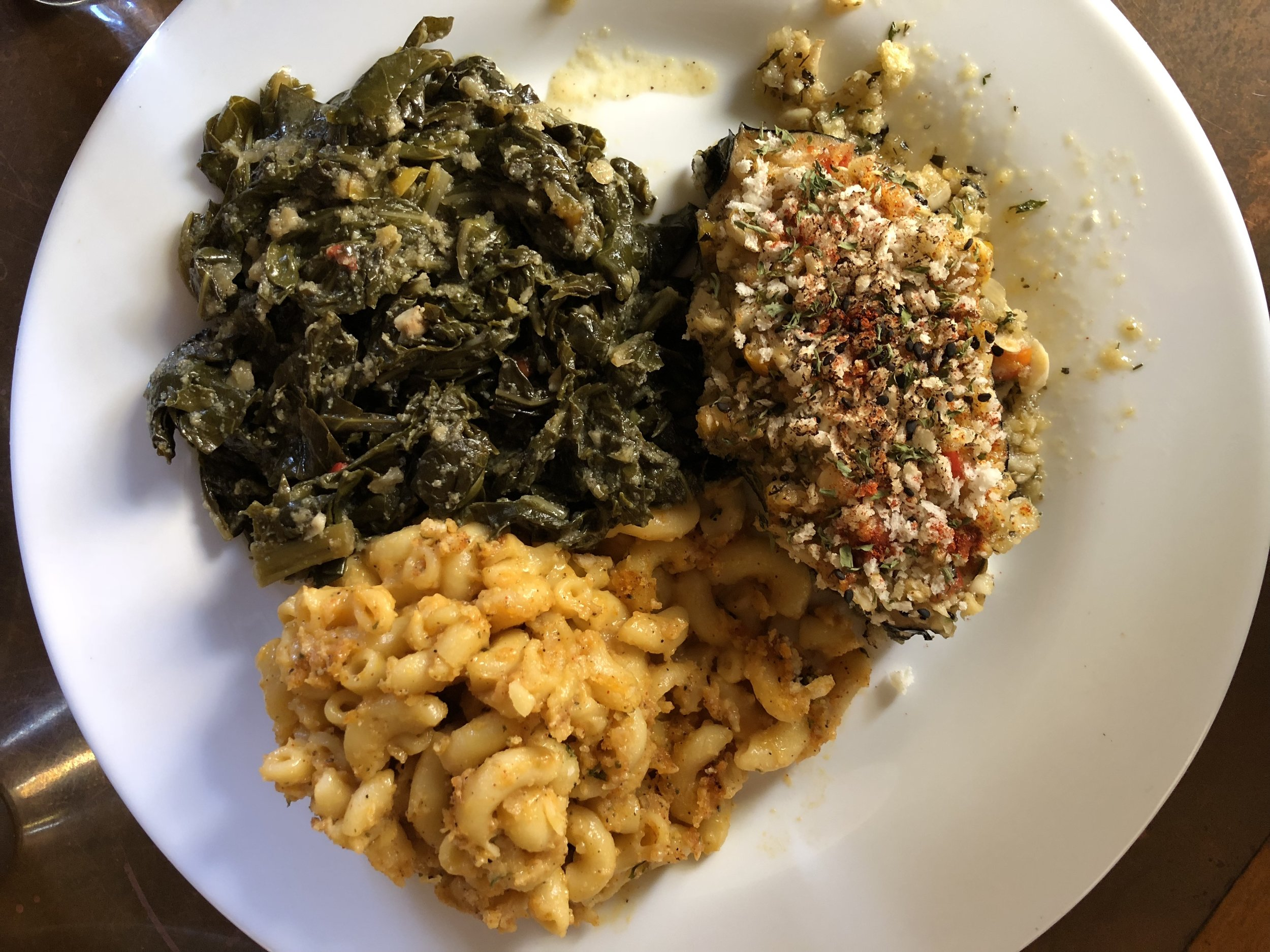 """The Lemon Crusted """"Fish"""" Steak w/sides of Baked Mac & """"Cheese"""" and Collard Greens at the Seasoned Vegan."""