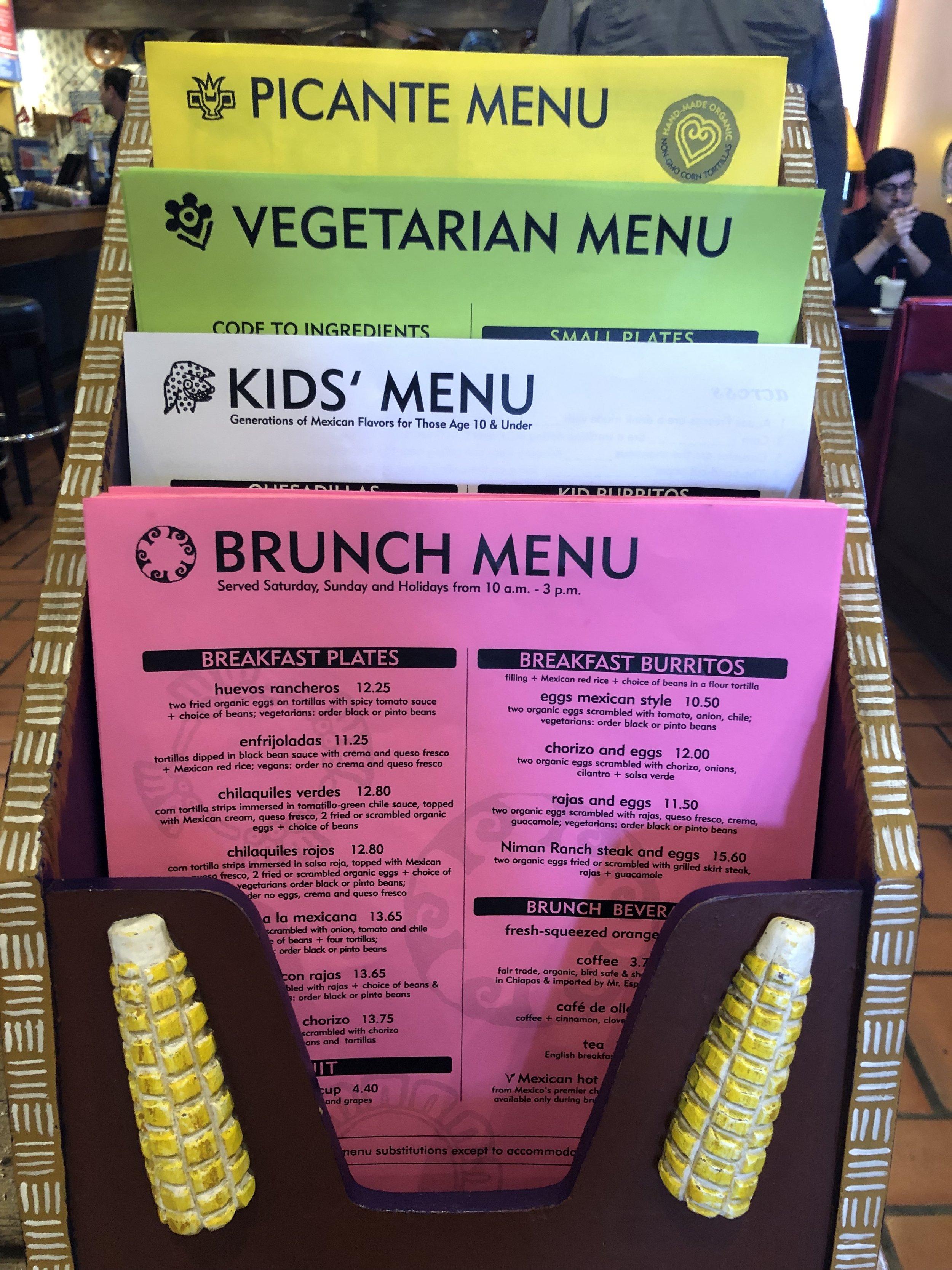 The menus!