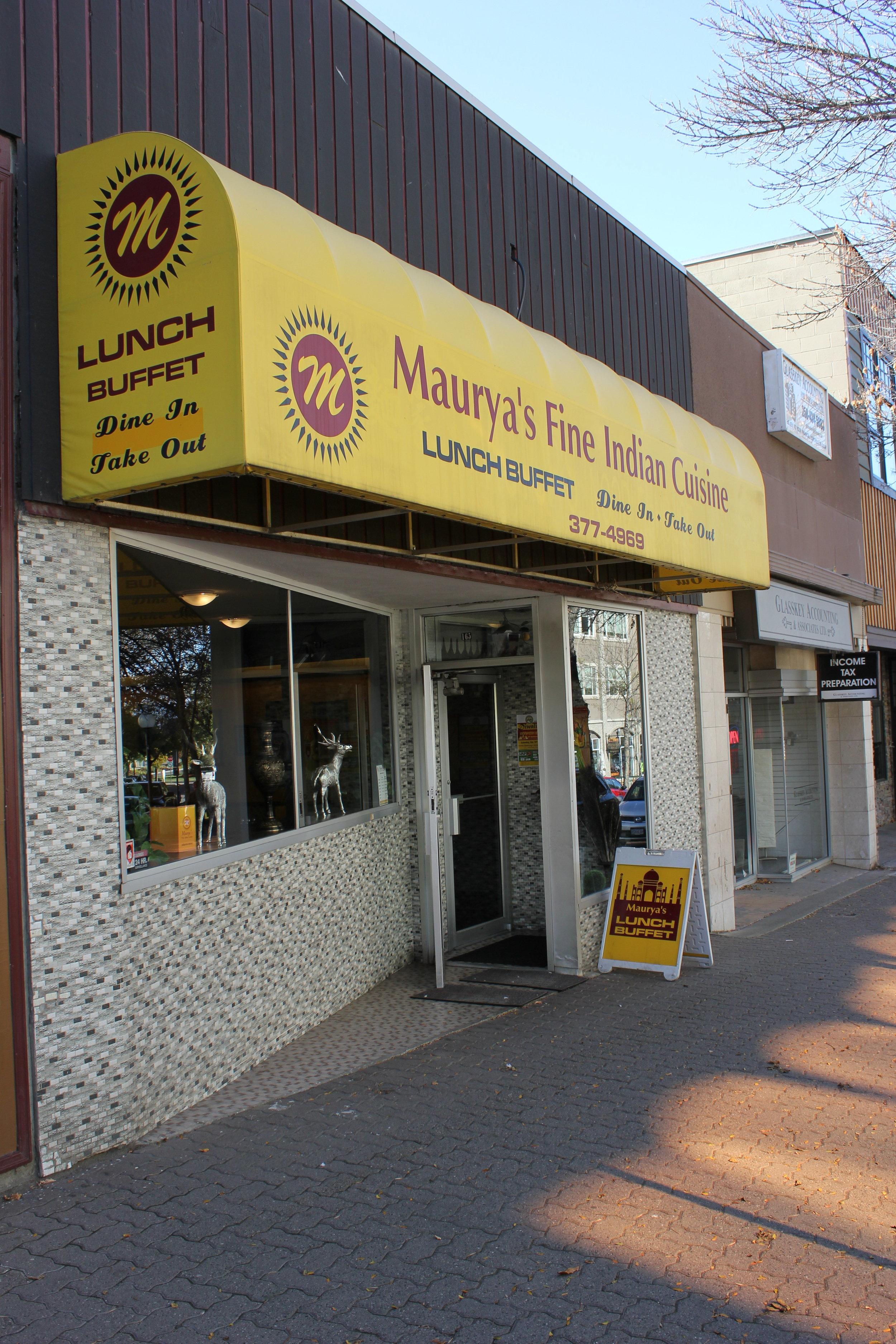 Listening Location:  Maurya's Fine Indian Cuisine  165 Victoria Street