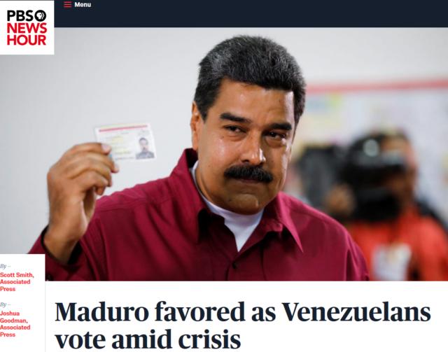 미국 언론 매체(예: PBS NewsHour, 2018.05.20) 대부분이 마두로의 재선을 예상했지만, 현재는 마두로의 당선을 사기로 단정 짓고 있다.