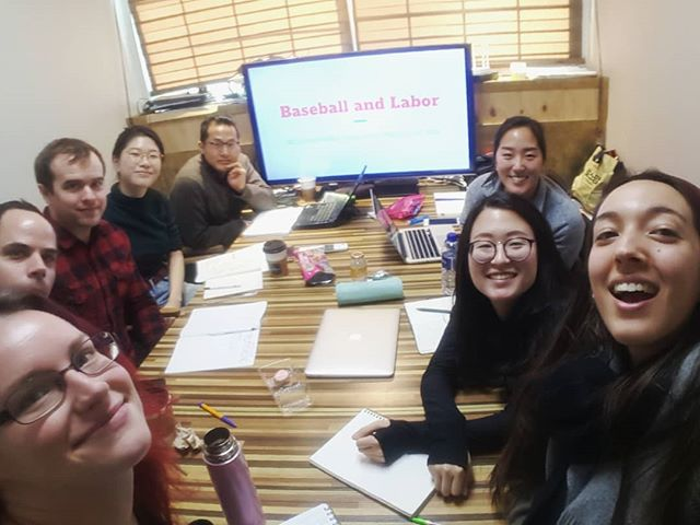 Our monthly editing team meeting and current affairs presentation group. This month we discussed #laborunion #womensrights #Korea #workerssafety 월례 교열팀 모임과 정세모임 이번모임에는 #노동조합 #여성인권 #노동자안전에 대해서 토론했어요!