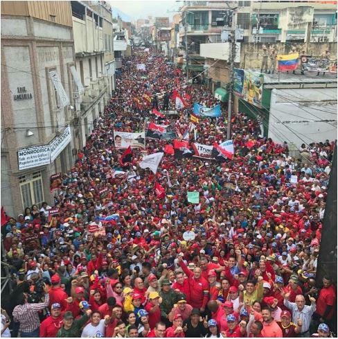 ▲  베네수엘라 정부 지지 시위  2019년 2월 27일 미란다 주 뻬따레에서 열린 정부 지지 시위ⓒ 주한베네수엘라대사관