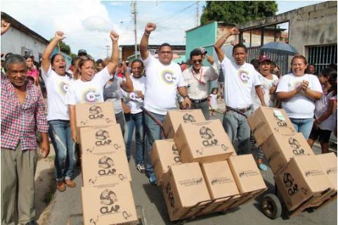 ▲  클랩 박스  클랩을 통해서 분배되는 식량 상자ⓒ 주한베네수엘라대사관