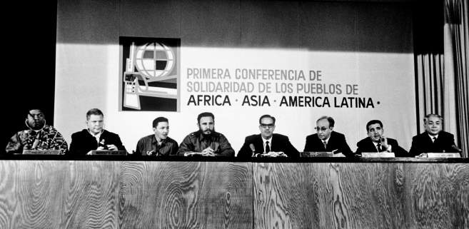 First meeting of the Tricontinental bringing together newly liberated countries  from Africa, Asia, and Latin America. Source:    savoirs.rfi.fr