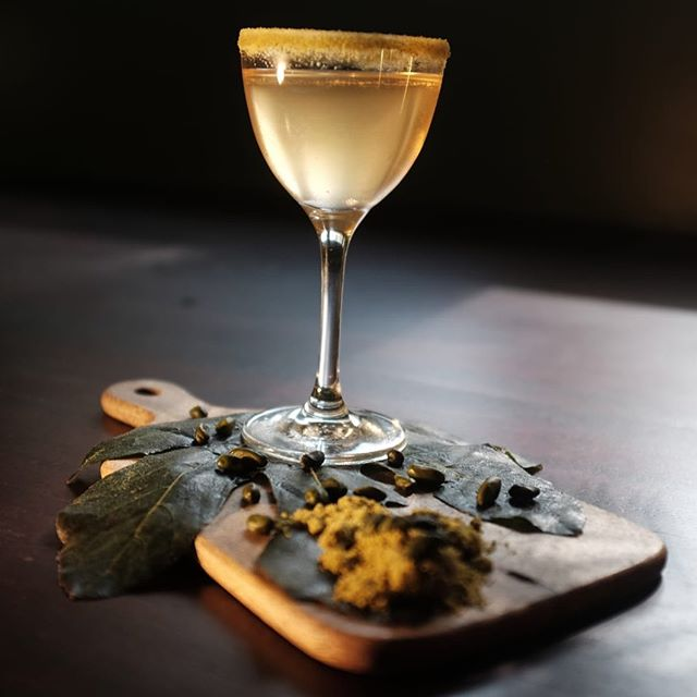 We have been playing around with some digestive cocktails - introducing: . Fig Leaf & Pistachio, a blend of pisco, fig leaf and port...it really is quite special . . . #cocktaillovers #drink #londoncocktails #cocktailbar #bartender #restaurant #holborn