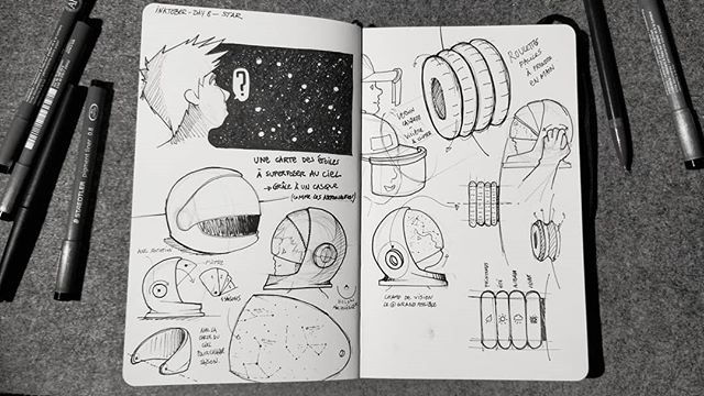 @inktober Day 8 - Star Pour tous les @thom_astro en herbe.👩🚀👨🚀 . Licata: Avoir la tête dans les étoiles. Superposer les cartes saisonnières des étoiles et le ciel du soir.🌟🌠✨🌌🌌 . #inktober #inktober2018 #sketchbook #moleskine #sketch #design #blackandwhite #drawing #designprocess #ideation #idea #thinkingbydrawing #helmet #star #astronaut #cosmonaut #stars #map #filter #sky #nightsky #thomaspesquet #learning #funny #playing