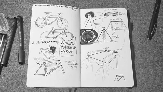 @inktober #ADSinktober Day 9 - Bike Licata: A l'arrache. Merci aux potos du @parischillracing pour l'inspiration. Un petit klunker exprès pour bikepacker, avec un collier de selle qui va bien pour fixer le support d'un tarp. 🚲⛺🏕️ . #inktober #inktober2018 #adsinktober #advanceddesign #ads #sketchbook #moleskine #sketch #design #blackandwhite #drawing #designprocess #ideation #idea #thinkingbydrawing #bike #bicycle #bikepacking #packlighttravelfar #klunker #tent #tarp #mothernature
