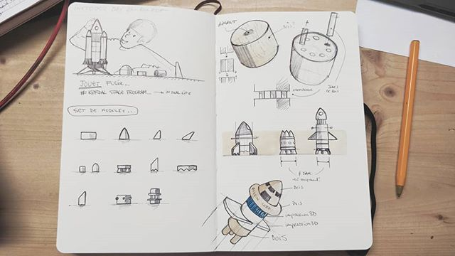 @inktober #ADSinktober Day 24: Rocket 🚀 Inspiration @kerbalspacep, ou comment construire sa fusée quand on a 8 ans, in real life. Encore une histoire de modules, en bois où a imprimer... . #inktober #inktober2018 #adsinktober #advanceddesign #ads #sketchbook #moleskine #sketch #design #blackandwhite #drawing #designprocess #ideation #idea #thinkingbydrawing #rocket #kerbalspaceprogram #ksp #toy #wood #3dprinting #assembly #spacex #playing #diy #custom