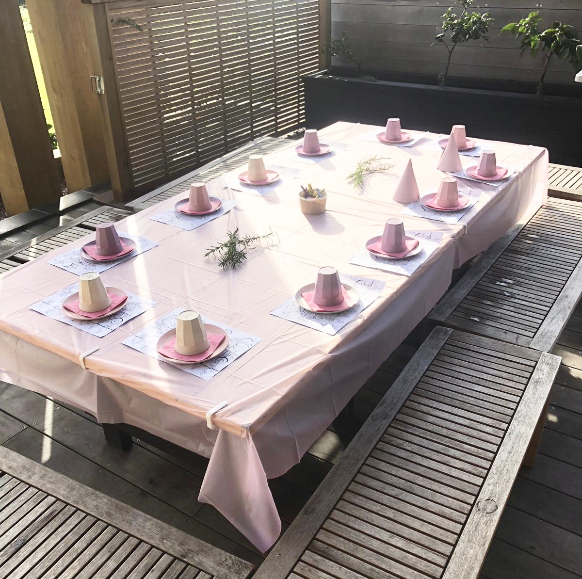 Example of pink themed table set up for 12 children
