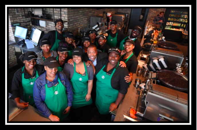 These are Starbucks Partners of Englewood in Chicago, a locality that has a higher than average unemployment rates and crime incidences. All of them are devoted to Starbucks because the company instills a sense of responsibility towards a still-recovering community. You can read about it    here