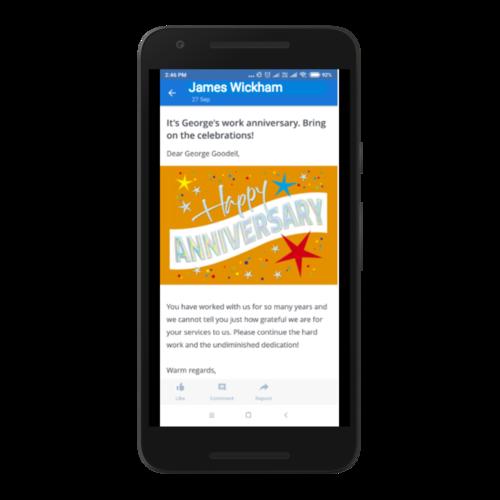 Celebrating birthdays on the Noticeboard app