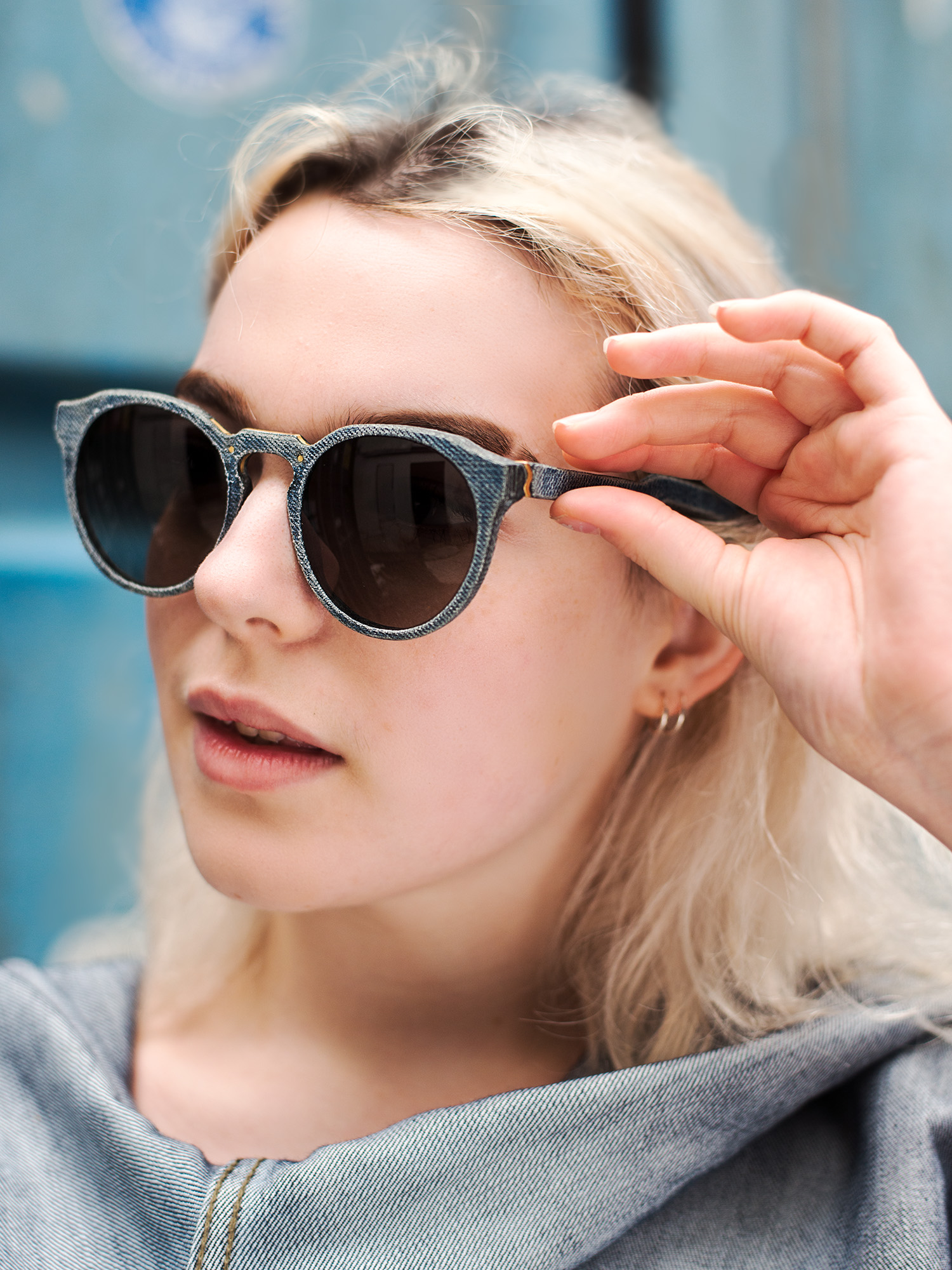 Work for  Mosevic  sunglasses. Glasses handmade from 100% recycled denim. Model:  Kepler  in blue.
