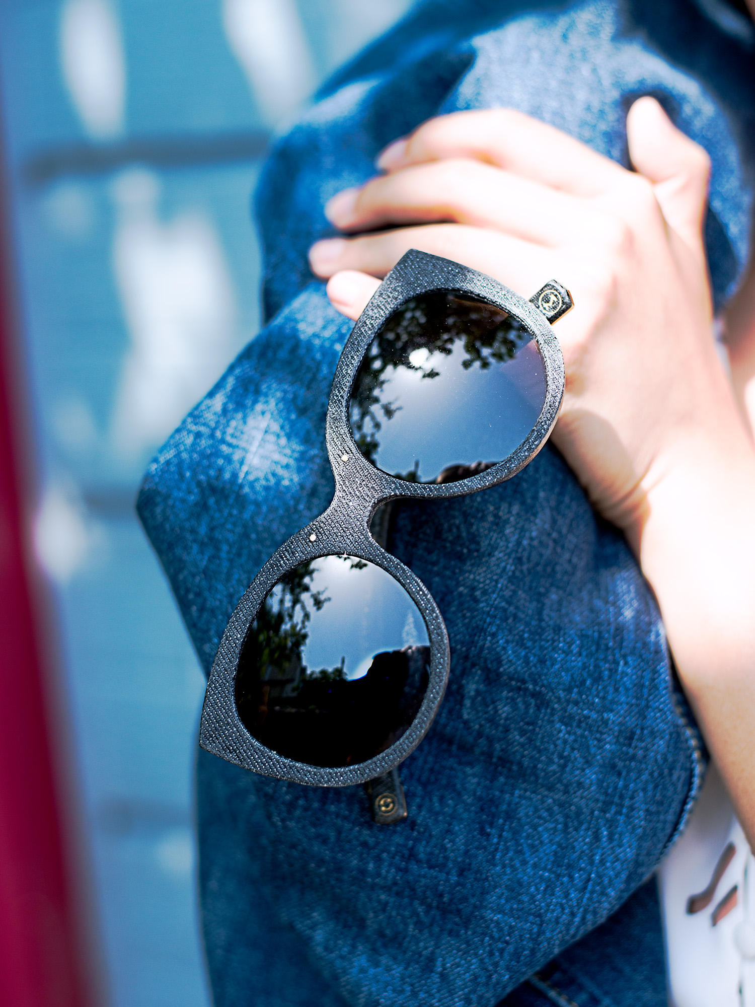 Work for  Mosevic  sunglasses. Glasses handmade from 100% recycled denim.  Halley  in black.