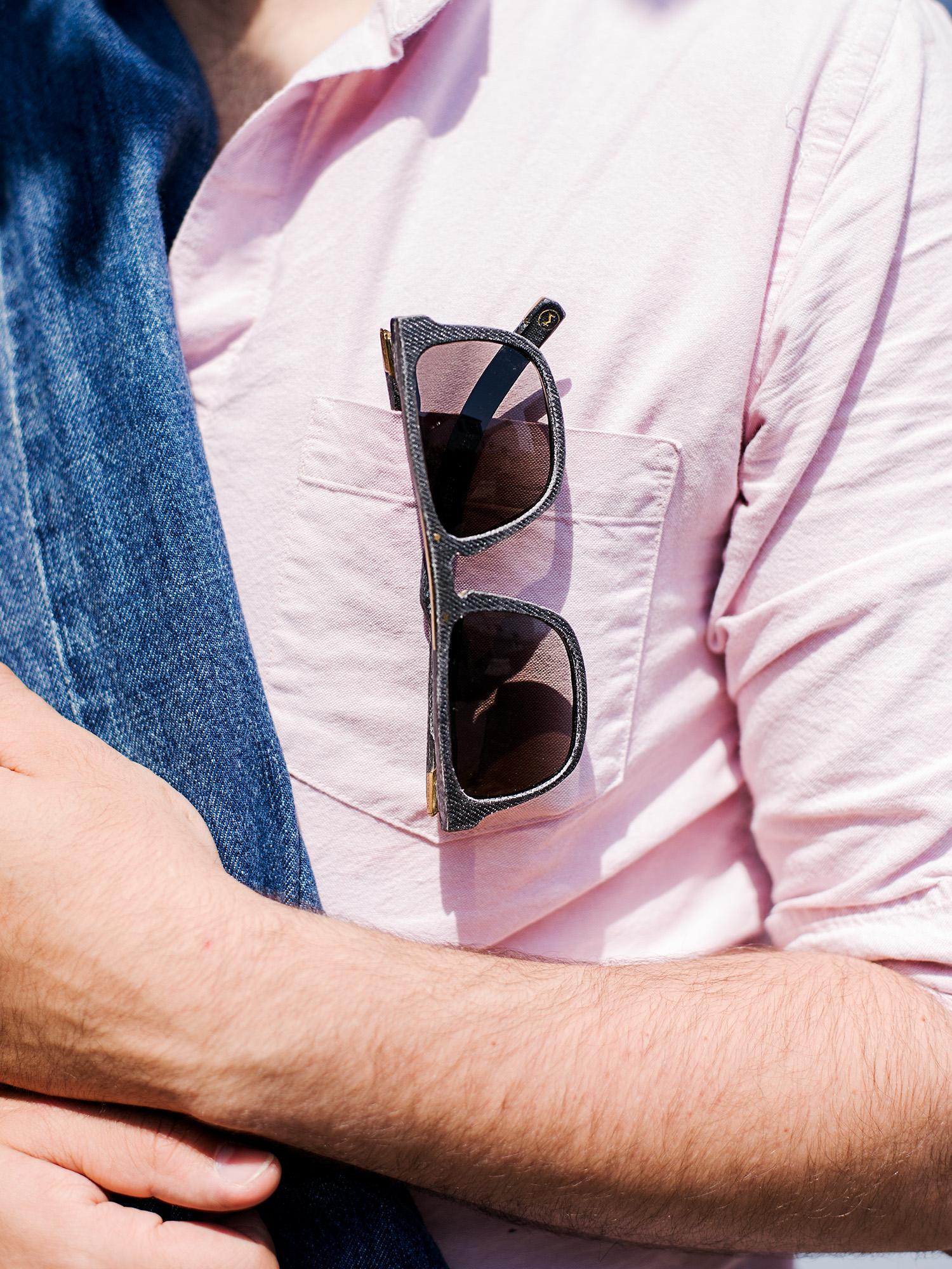 Work for  Mosevic  sunglasses. Glasses handmade from 100% recycled denim.  Titan  in black.