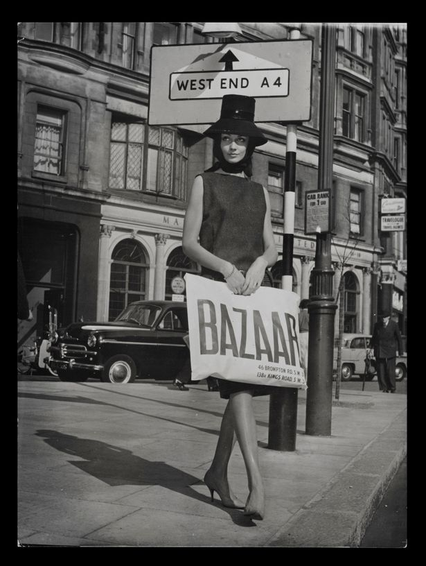 A model holding a Bazaar bag outside Mary's boutique in 1959  (Image: Victoria and Albert Museum London)