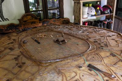 Replica village in wax