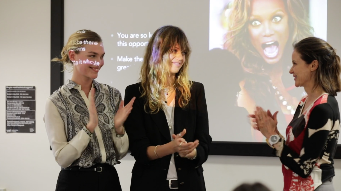 Arizona Muse, Jessica Clarke and Elizabeth Peyton-Jones on the final day of the Professional Model Course at LCF.