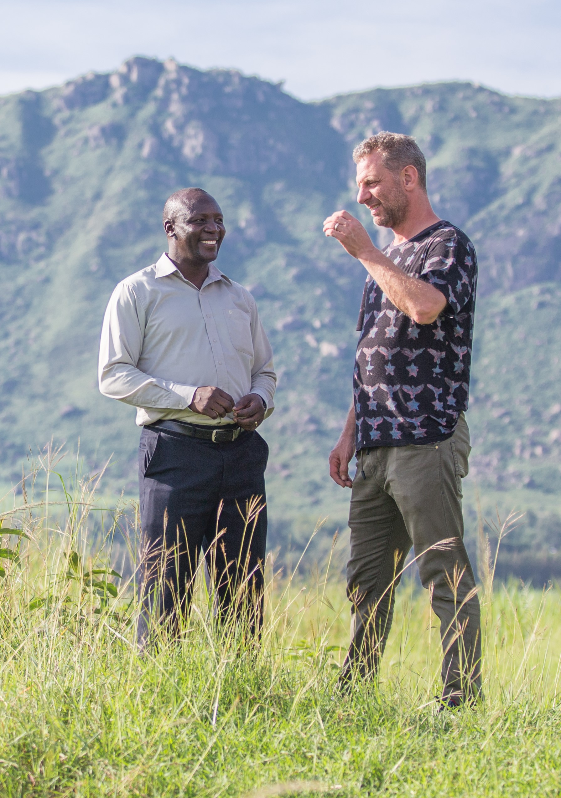 """""""Coming on trips like this is not just about the ingredients that you might find. It's meeting people and interacting with people. Travel is one of the most inspirational things for me."""" - Luke Dale-Roberts, pictured with Farm Africa Project Officer Teddy Nyanapah"""