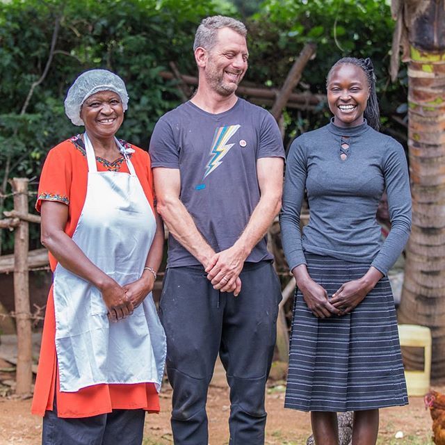Chefs for Change ambassador Luke Dale Roberts pictured in western Kenya with Zinath (left), manager of the Tigoi fish farm, who has received support from @Farm_Africa to farm fish, produce and sell fingerlings (baby fish) and add value to fish by producing products such as fishfingers and fish pizzas, and Suzanna (right), who manages a fish farm where Luke helped to harvest fish. #ChefsForChange #Worlds50Best #LukeDaleRoberts #Chefs #TheTestKitchen #Fish #FarmAfrica #Kenya #Chef #Sustainability