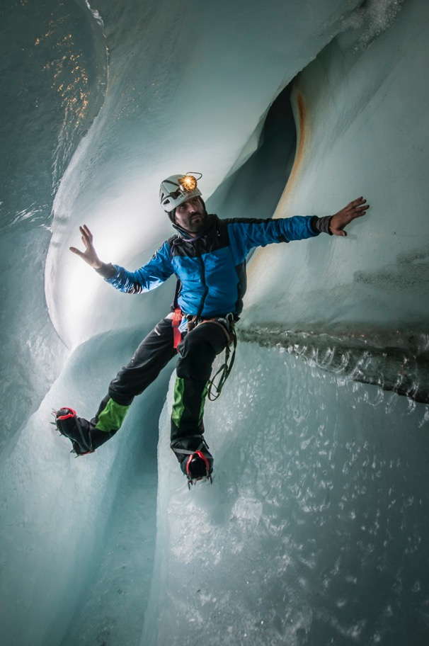 Francesco exploring an ice cave in the Gorner Gletscher, Switzerland (ph Alessio Romeo)