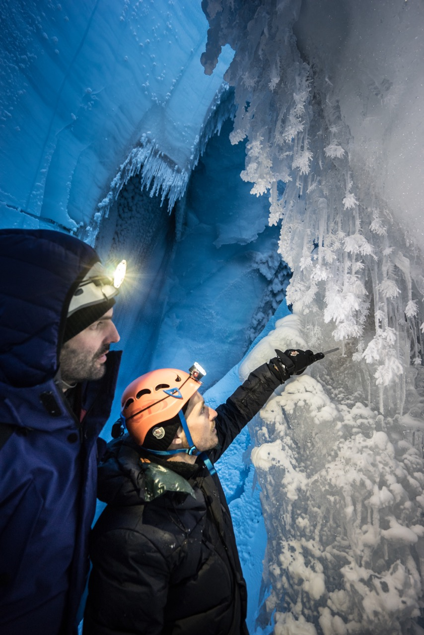 Francesco and Joseph Cook exploring an ice cave on the Greenland Ice Sheet in October 2018 (ph Alessio Romeo).