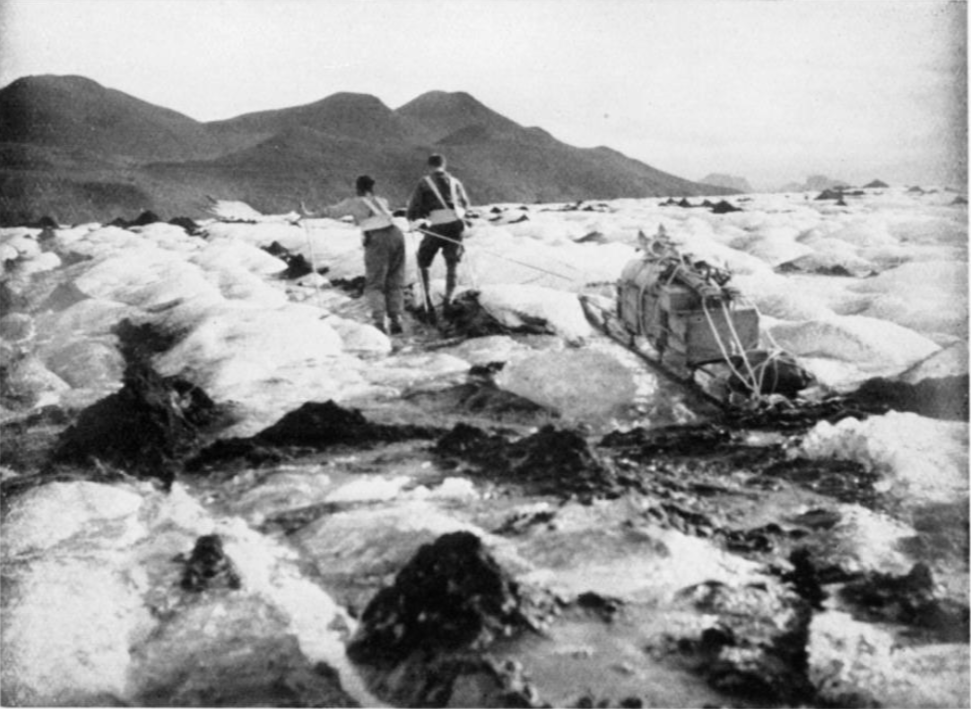 Two of the 1932 team pulling a sledge over the Vatnajokull ice-cap    Image from: The Geographical Journal , Vol. 81, No. 4, (Apr., 1933), pp. 289-308