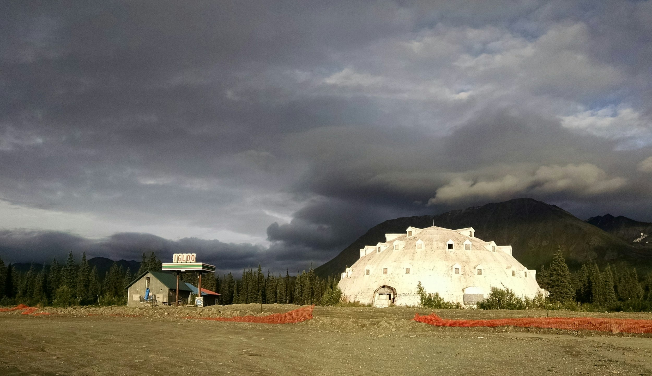storm over igloo - The Igloo gas station, an iconic dystope in the Alaskan landscape, always a bad idea, none-the-less compelling in all it's glorious absurdity - looks as if it is being prepared for demolition? This is an incredible location for a Light Art installation.