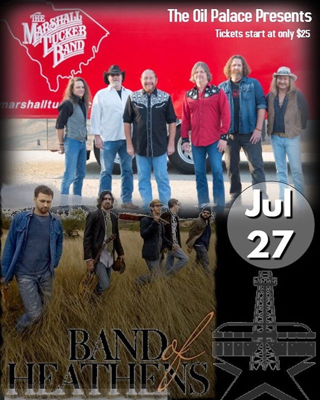 @marshalltuckerband with special Guests: @bandofheathens and Steppenwolf Revisited (featuring two former members). Saturday, July 27 at the Oil Palace in Tyler Texas! Tickets start at only $25. www.OilPalace.com . . . . #marshalltexas #tylertx #tylertexas #uttyler #uttylernursing #tjc #longviewtx #easttx #easttexas #tylerrose #shreveport #lufkin #lufkintx #bandofheathens #bandofheathenslive #marshalltucker #marshalltuckerband #steppenwolf #borntobewild