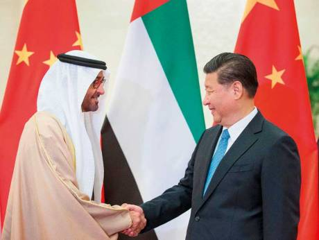 H.H. Sheikh Mohamed bin Zayed Al Nahyan greets President Xi during a trip to Beijing in December. Source:  Gulf News  (CC)