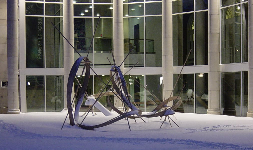 First Law of Sculptural Dynamics, 2011 installation at Indiana Univeristy of Pennsylvanis. Photo: Michael Hood.