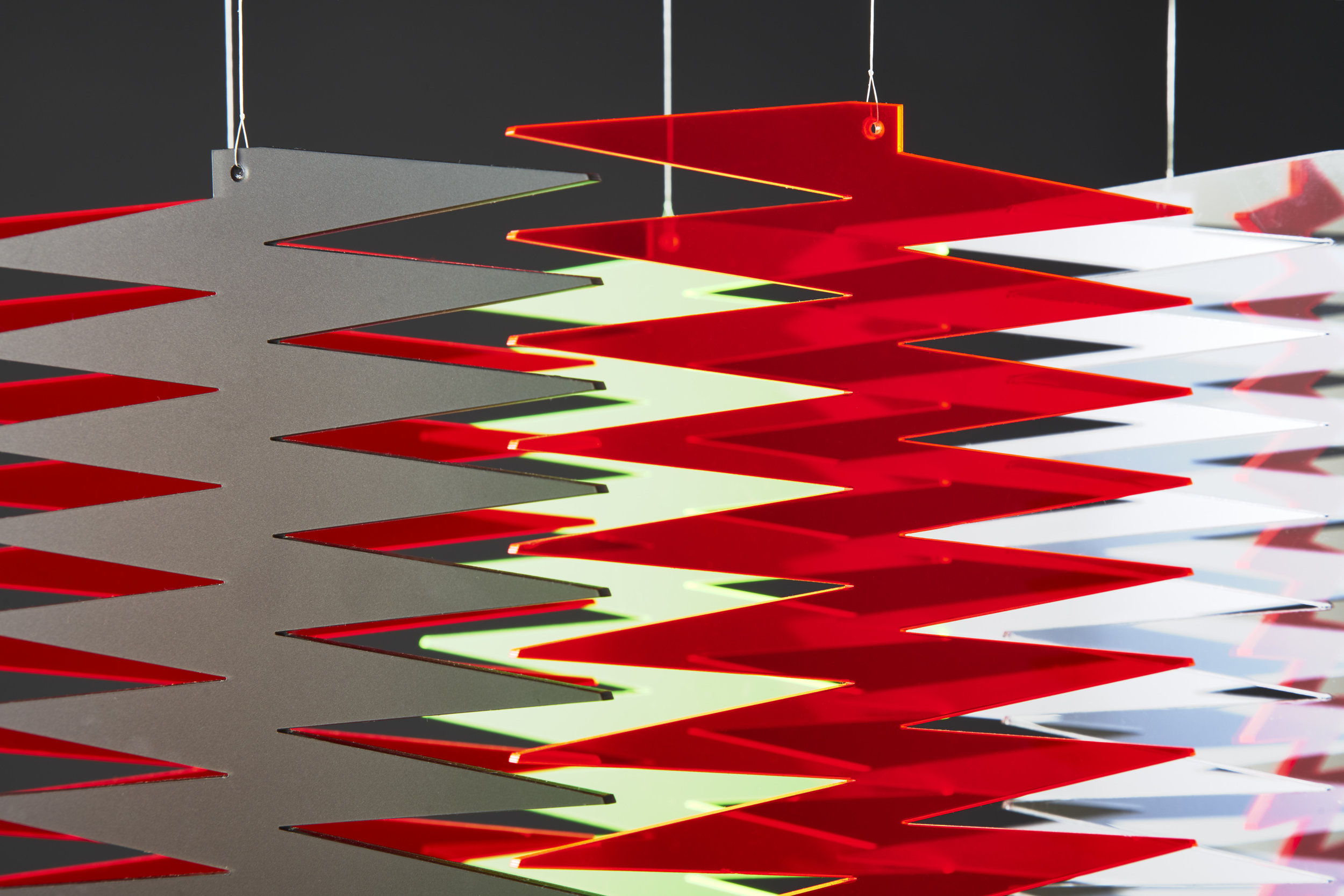 AlteringSpace Pinnate Perspex® Fluorescent Red and Green-4