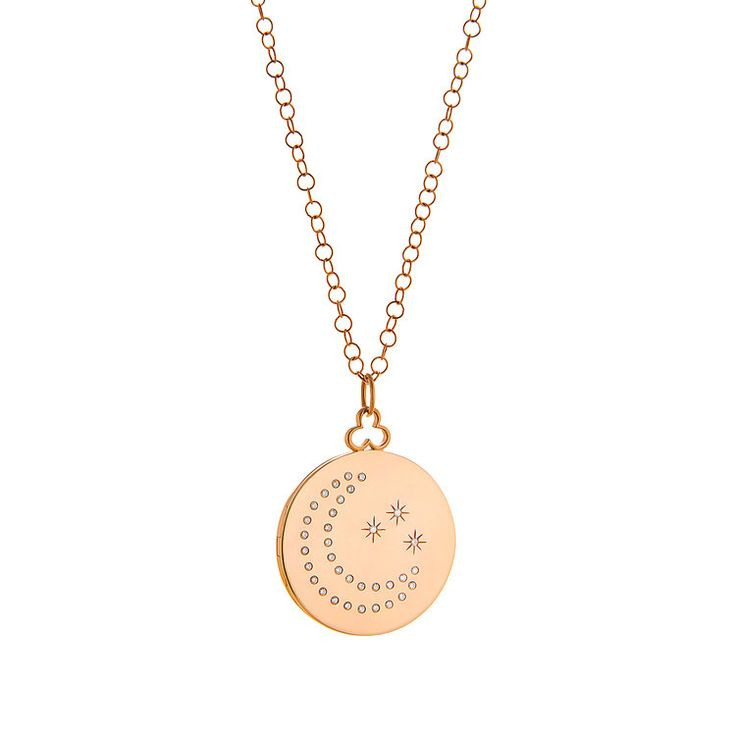 Devon Woodhill for JL Rocks Moon and Stars Locket  $2990  Simple, modern and timeless. Love this aesthetic and the sentimentality of keeping your loved ones close.