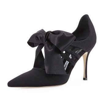 Manolo Blahnik Ribbon Satin Pump  $845  Navy, bows, Manolos...need I say more!