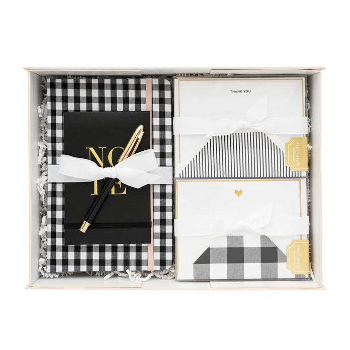 Luxe gift box from Sugar Paper , $100  I fell in love with this brand when I lived in LA and I still buy all my stationery there. My hot choice is this super-chic monochrome gift box.